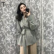 Trytree primavera mujer Casual abrigo con cuello pico cinturón de un solo pecho Vintage moda liso abierto hem suelta Oficina señora blusa abrigo