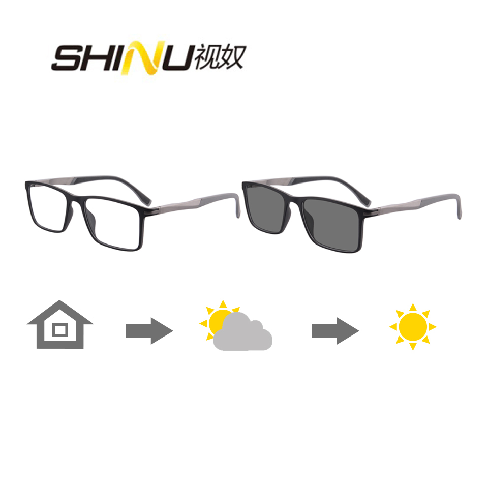 Photochromic Bifocal Reading Glasses Men See Near Reader See Far Gray Sunglasses Men Presbyopia Can Custom With Cylinder Degree