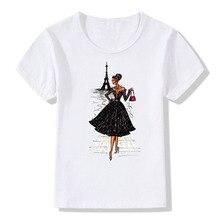 цена на Fashion Girls Tshirt Vintage Vogue Paris Eiffel Tower Print Girl Shirt Summer T Shirt Novelty Casual Tops Hipster Cool White Tee