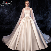 SERMENT Luxury Satin Wedding Shawl Starry Sky Spaghetti Straps Lace Up Square Collar Royal Train 100cm Soft Custom Made