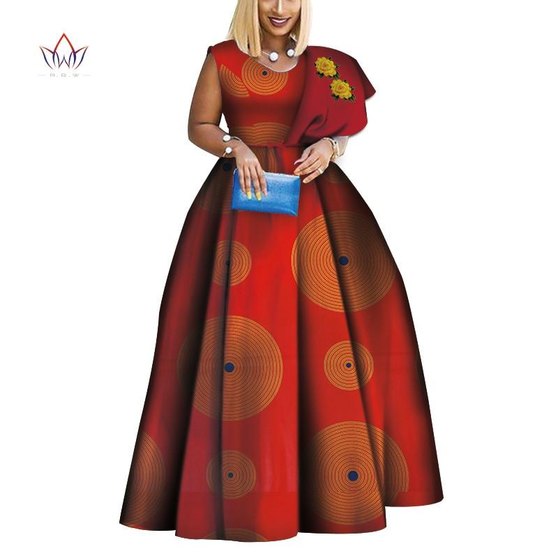 2019 nouveau Dashiki africain imprimé robes Bazin une épaule robe de soirée Vestidos grande taille robes africaines pour les femmes WY3834