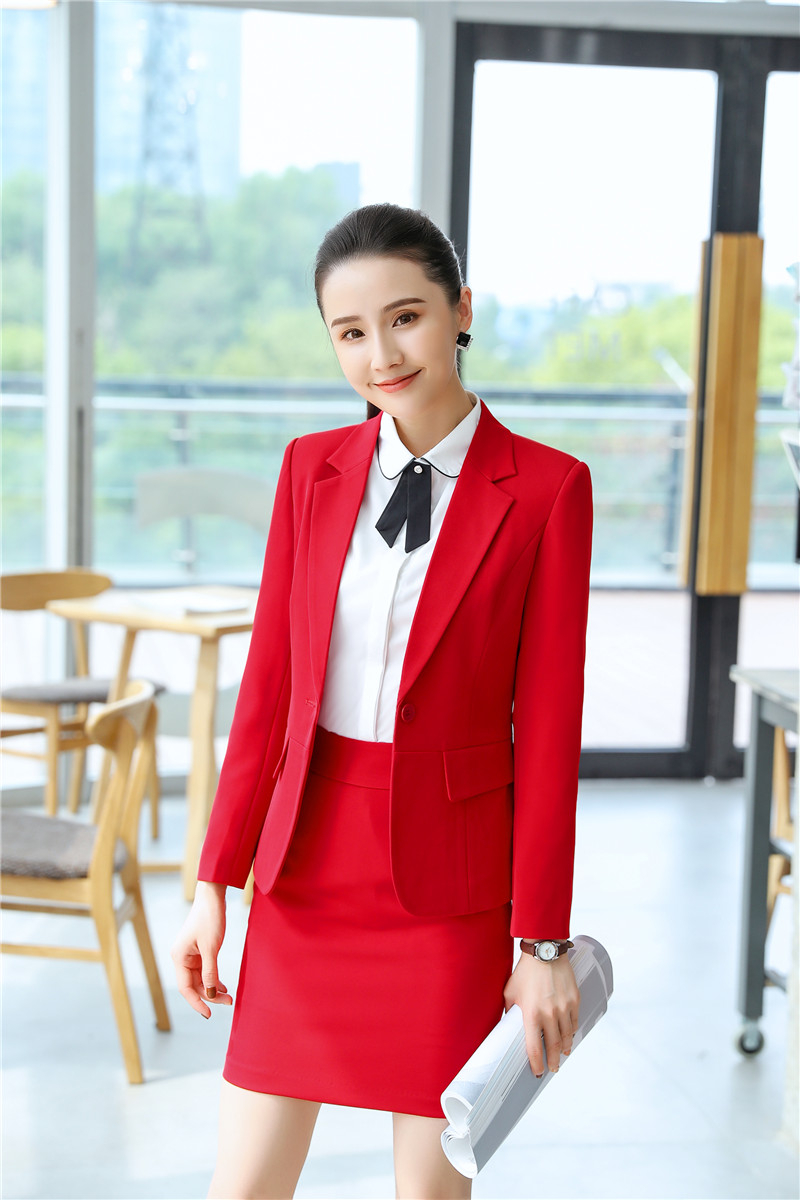 Elegant Red Professional Business Women Work Wear Suits With Skirt And Tops Ladies Office Blazers Female Autumn Wiinter Outfits