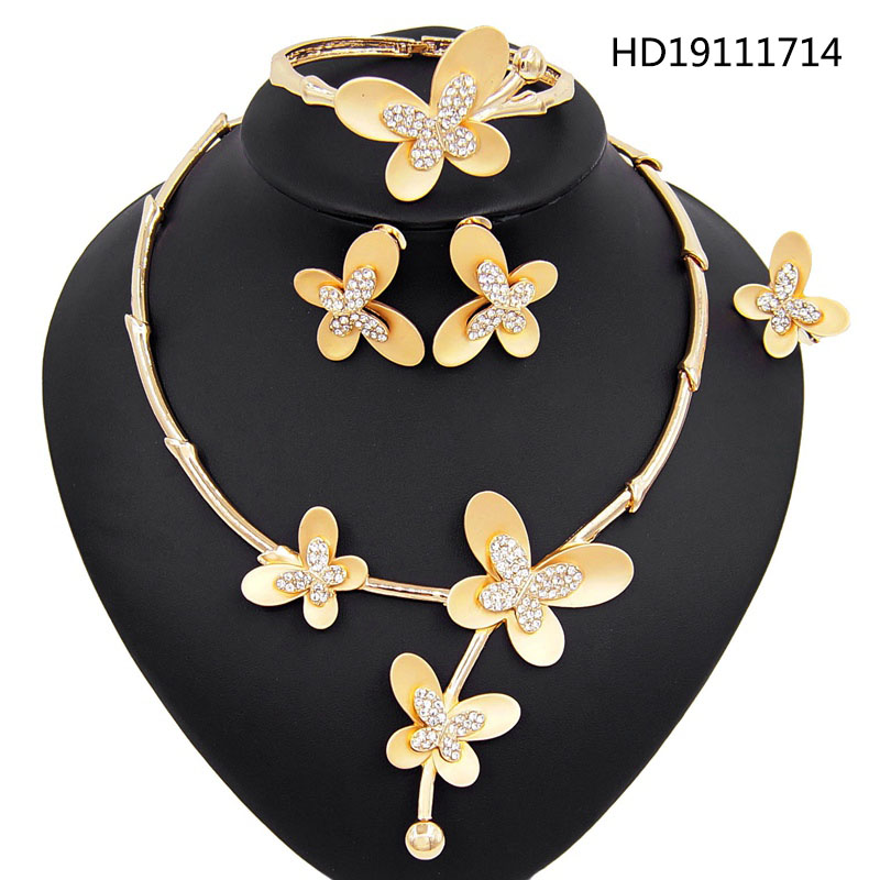 Yulaili Fancy Fashion Gold Color Butterfly Decoration Zircon Necklace Earrings Bracelet Ring Party Jewelry Sets Free Shipping Jewelry Sets Aliexpress