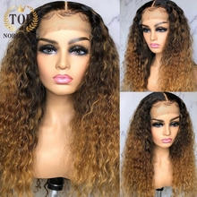Topnormantic Ombre Color Deep Curly Wig Ombre Honey Blonde W