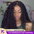 13x4 HD прозрачный кружевной передний парик, перуанские курчавые вьющиеся передние парики из человеческих волос, предварительно выщипанные п...