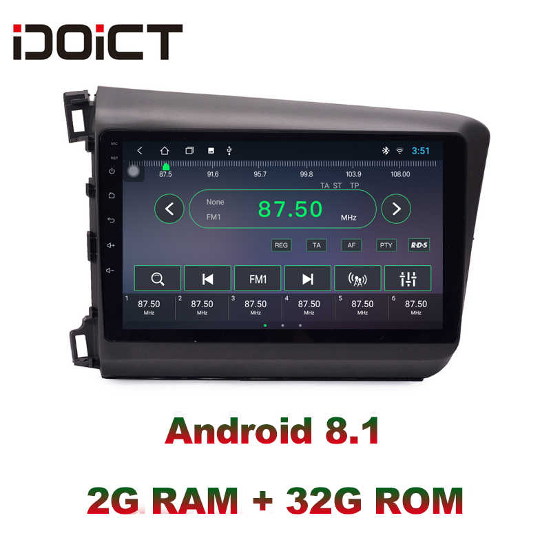 IDOICT-lecteur DVD voiture IPS | Android 8.1, IPS, 2G + 32G, GPS, Navigation multimédia, pour Honda Civic Radio, 2012-2015