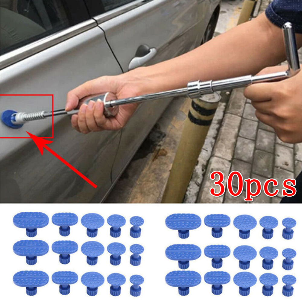 30pcs Car Suction Cup Paint Dent Repair Tool Car Motorcycle Pulling Tab Dent Removal Repair Tool Set Nylon Blue