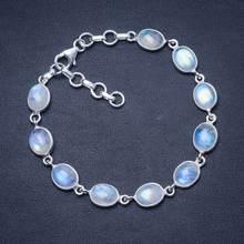 Натуральный цвет радуги лунный камень 925 пробы серебро браслет