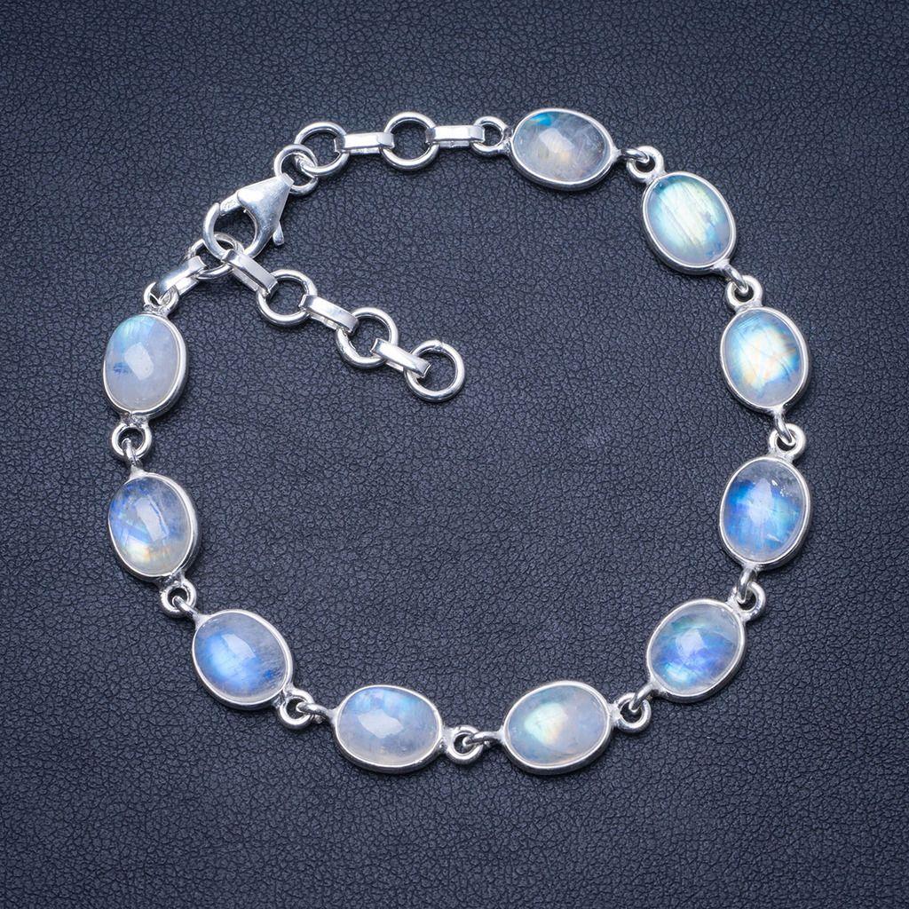 """Naturalne Rainbow kamień księżycowy 925 srebro bransoletka 7 1/4 8 1/4 """"Q2820 w Bransoletki i obręcze od Biżuteria i akcesoria na  Grupa 1"""