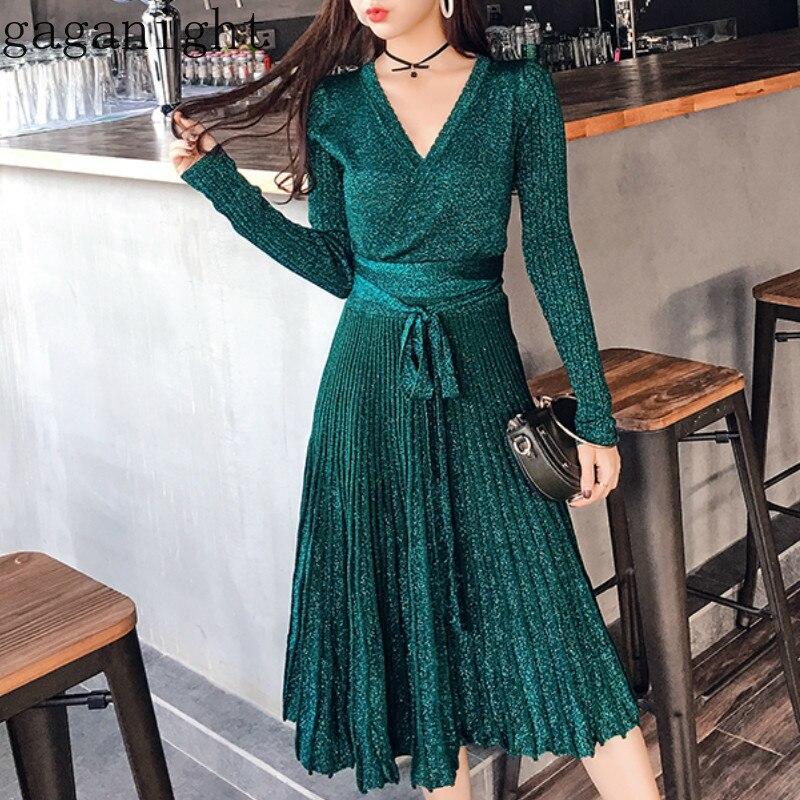 Gaganight элегантное женское облегающее платье с люрексом, длинные рукава, v-образный вырез, пояс, миди платья, Осень-зима, вязанное, Vestidos, корейск...