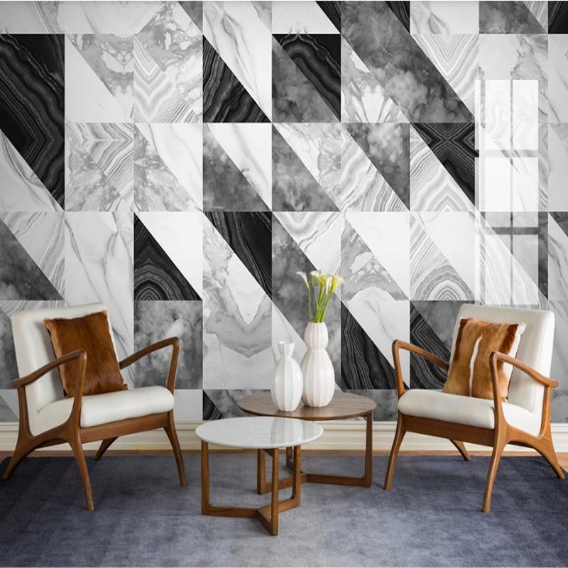 Milofei Manufacturers Custom Jazz White Geometric Marble Living Room Bedroom Background Wallpaper Mural