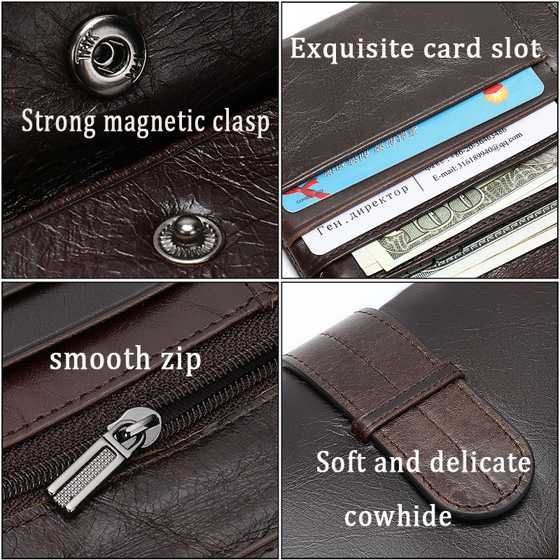 Image 3 - WESTAL wallet mens genuine leather purse for men clutch male wallets long Leather zipper wallet men business money bag 6018Wallets   -