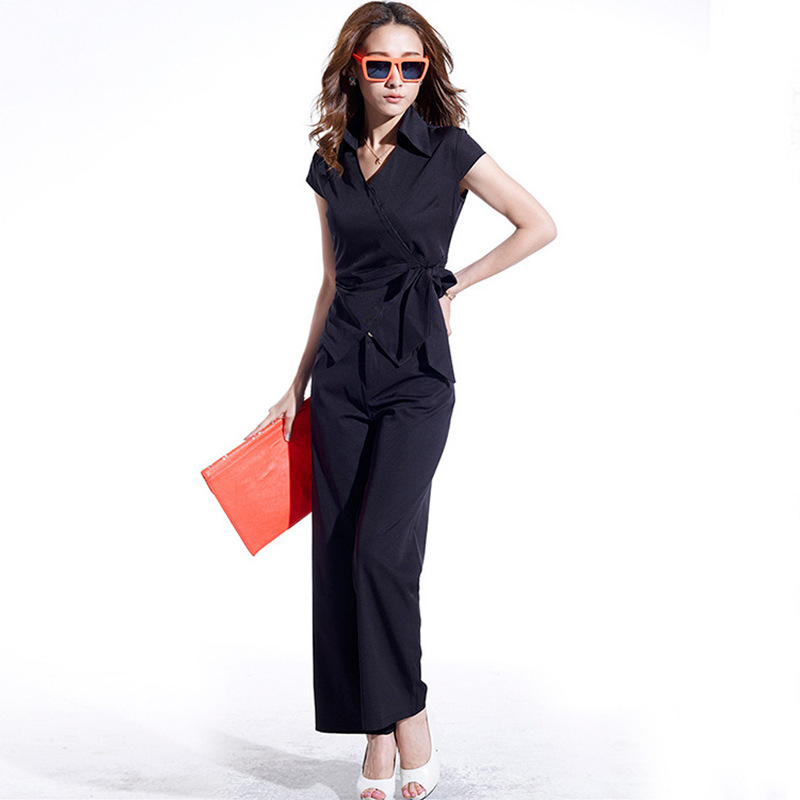 2019 Summer WOMEN'S Dress New Style Korean-style Slim Fit Bandage Cloth Trousers Two-Piece Set Short Sleeve Fashion Professional