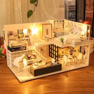 DIY кукольный домик, деревянные кукольные домики, миниатюрный кукольный домик, мебельный набор, Casa Music, светодиодные игрушки для детей, подаро...