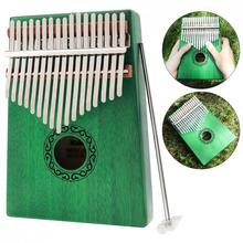 Thumb Piano 17 Key Green Kalimba Single Board Mahogany Mbira Mini Keyboard Instrument with Complete Accessories