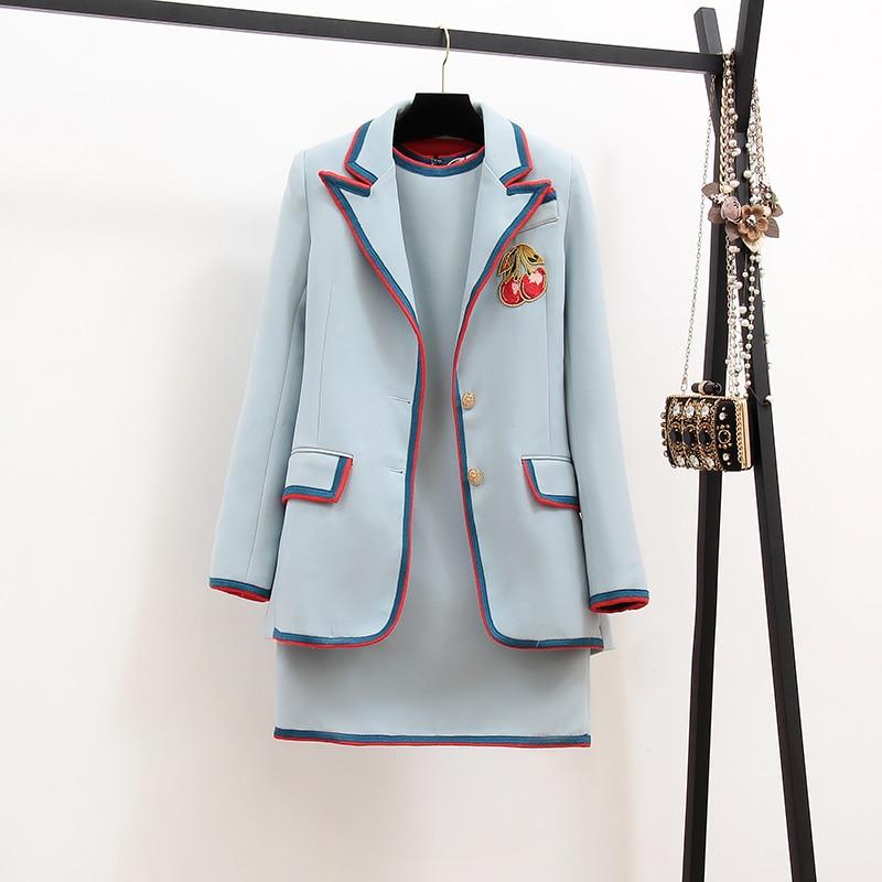 2019 New Spring Autumn Fashion Women's Sets Color Block Long Sleeve Suits Jacket + Sleeveless Vests Mini Dress Ladies Suits
