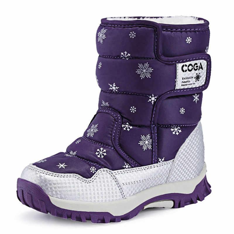 Kış Çocuk Ayakkabı Erkek Kız Kar Botları Su Geçirmez Sıcak Peluş Moda yarım çizmeler Anti-skid lastik çizmeler Pekny Bosa Çizme Çorap