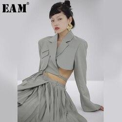 Женский облегающий короткий Блейзер EAM, Зеленый свободный пиджак с отложным воротником и длинным рукавом, весна-осень 2020, 1S714