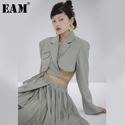 [EAM]  Women Green Bandage Hollow Out Short Blazer New Lapel Long Sleeve Loose Fit  Jacket Fashion Tide Spring Autumn 2020 1S714