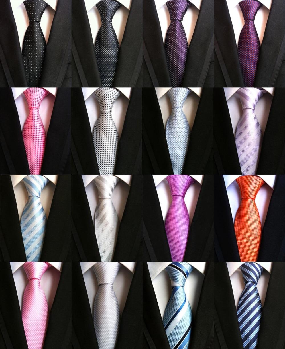 YISHLINE 8CM Fashion Classic Men's Stripe Tie Purple Blue Black Pink Lavender Jacquard Woven 100% Silk Necktie Polka Dots Ties