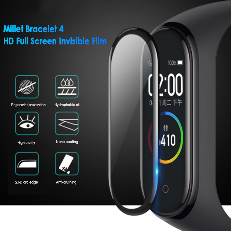 4Pcs Protective Film For Xiaomi Mi Band 4 Protector Soft Glass For Miband 4 Film Full Cover Screen Protection Case Dropshipping