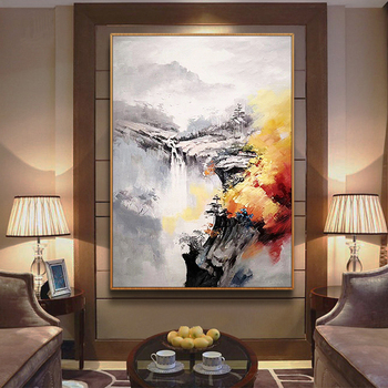 Among The New Chinese Paintinghand-painted Mountain Landscapes Clean Modern Decorative Painting The Living Room Entrance H