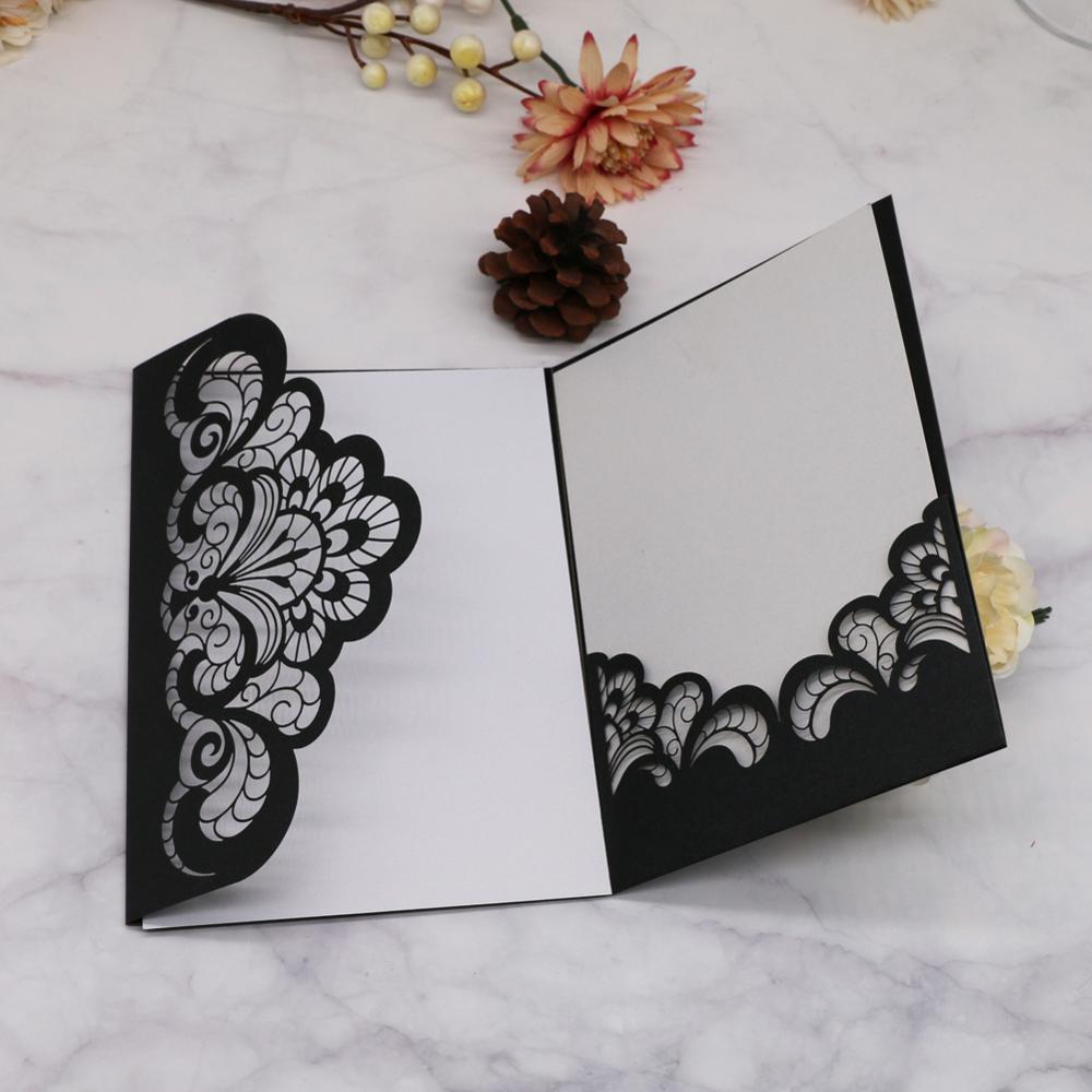 50pcs Lot Elegant Lace Envelopes Wedding Invitations Card Laser