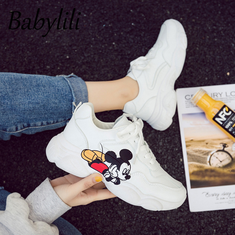 2020 Platform Shoes Spring Women White Shoes Pu Female Mickey Cartoon Breathable Chunky Sneakers Woman Running Zapatillas Mujer