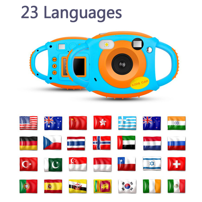 Children's Digital Camera Toys Kids Girls Boys Birthday Gift High Quality 23 Languages Camera With Soft Silicone Protect Shell