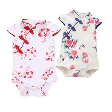 Fashionale Baby Rompertjes Chinese Cheongsam Zomer Baby Meisje Kleding Pasgeboren Baby Kleding Roupas Bebe Baby Jumpsuits Voor Party(China)