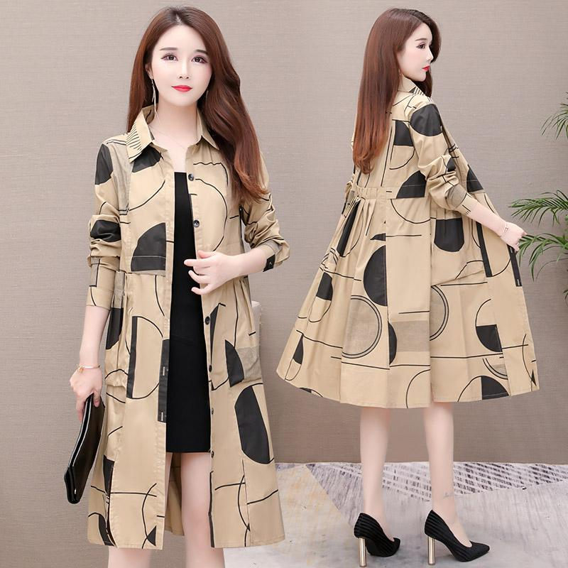 Shirt Windbreaker Female Long Korean 2019 New Slim Casual Large Size Trench Coat Thin Section Spring Autumn Coat Lady Print f184 24