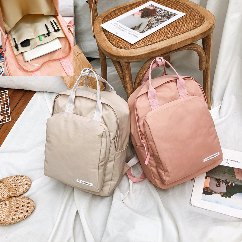Cute girl travel waterproof backpacks ulzzang fashion classic solid color backpack sweet girl student bag backpack Mochilas image