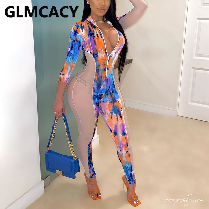 Women Gardient Color Long Sleeve Splicing Bodycon Jumpsuit Plunge V-neck Sexy Overall