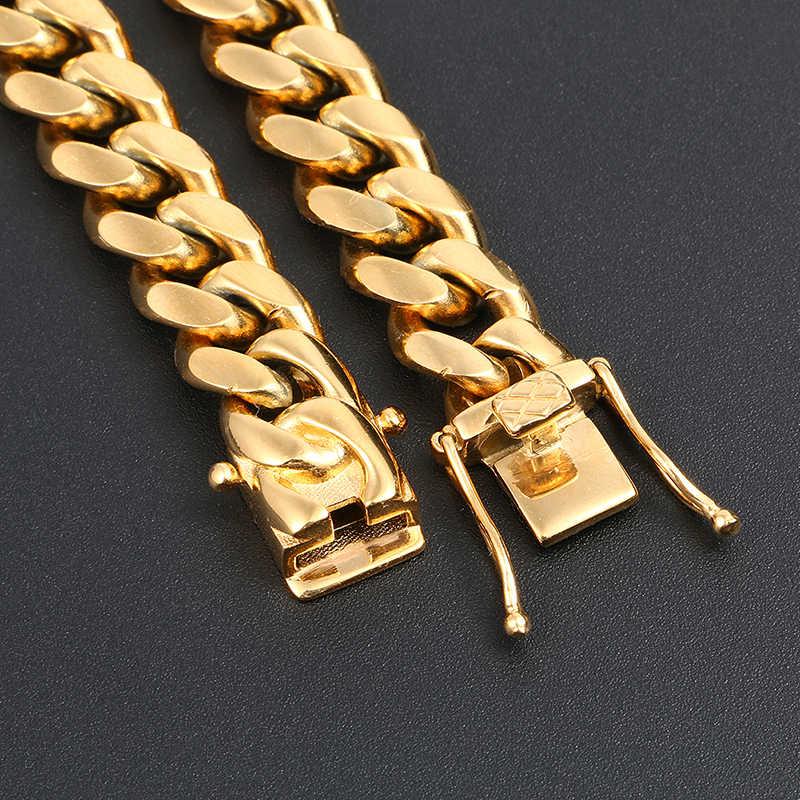 الهيب هوب ميامي كبح الكوبية سلسلة قلادة 10 مللي متر عرض الذهب الفضة الملونة هايت جودة مغني الراب القلائد الرجال المجوهرات انخفاض الشحن