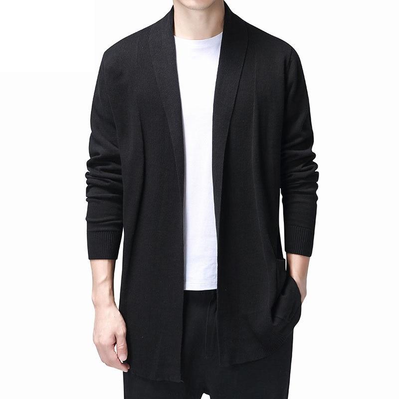 Long Mens Cardigans Jumper 2019 Fashion Hombre Cardigan Sweaters Men Coats Casual Slim Long Sleeve Sweater Pull Homme KK3121