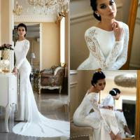 Elegant Long Sleeve Mermaid Wedding Dress with Lace Appliqued Satin Boho Beach Wedding Gowns Sequined Vestido De Novia