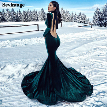 Sevintage Green Mermaid Velvet Evening Dress Long Sleeves Prom Dresses Sweep Train Custom Made Formal Women Gowns 2021
