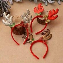 Новейшая Рождественская повязка на голову, шляпа, нарядное платье, оленьи рога Рождественская шапка Санты вечерние для детей и взрослых