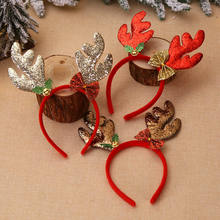 Newest Christmas Headbands Hat Fancy Dress Reindeer Antlers Santa Xmas Party Kids Adult(China)