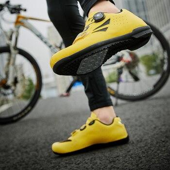 Men's Women's Mountain Bike Bicycle Shoes XL High Top Bike Boots Autumn Road Bike Mountain Bike Shoes Yellow Black Sneakers