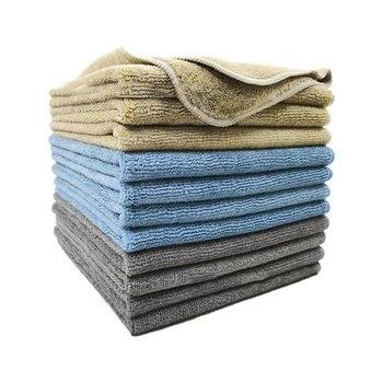 Paño de toalla de limpieza fibra Superfina 40X40 cm de espesor 12 empaquetado en forma de toallas absorbentes de secado rápido de Color sólido