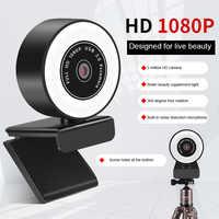 Autofocus-cámara Web Webcam HD 2K 1080P con anillo con diseño de micrófono, luz para ordenador, PC, cámara con lámpara LED, cámara Web para Skype OBS Steam