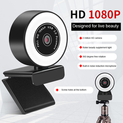 Autofocus 2K 1080P Webcam HD Web Camera With Microphone Ring Light Computer PC Camera With LED Lamp Web Cam for Skype OBS Steam