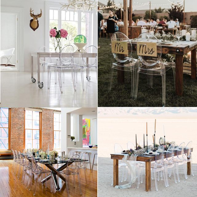 6 PCS Modern Dining Chairs Set Acrylic Chairs Clear Ghost Victoria Dining & Vanity Dressing Chair For Kitchen Office Dining Room 6