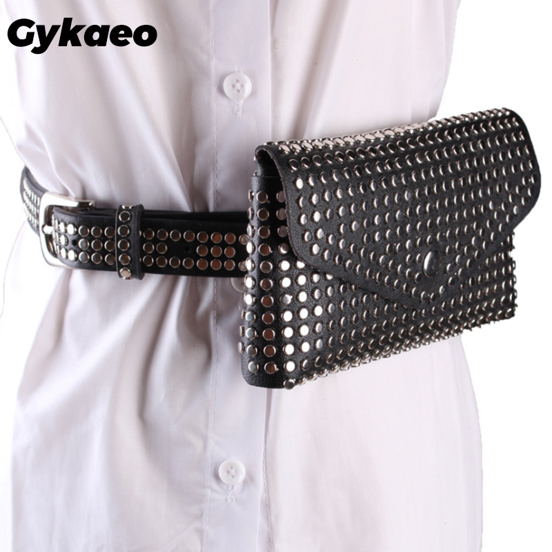 Fashion Rivet Luxury Designer Fanny Pack Small Women Waist Bag Phone Pouch Punk Belt Bag Ladies Party Purse Evening Day Clutches