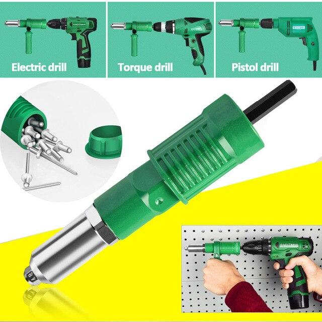 Electric Rivet Gun Adapter Electric Drill Blind Rivet Gun Head 2.4mm-4.8mm Industrial  Handheld Pull Rivet Nut Tool 2