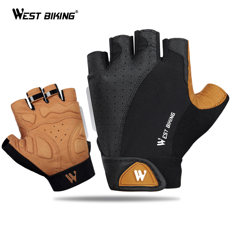 Breathable Anti-skid Half Finger Gloves Sports Fitness Mittens Cycling Biking Motorcycling Gloves Summer UV Protection Gloves for Men Women for Working M