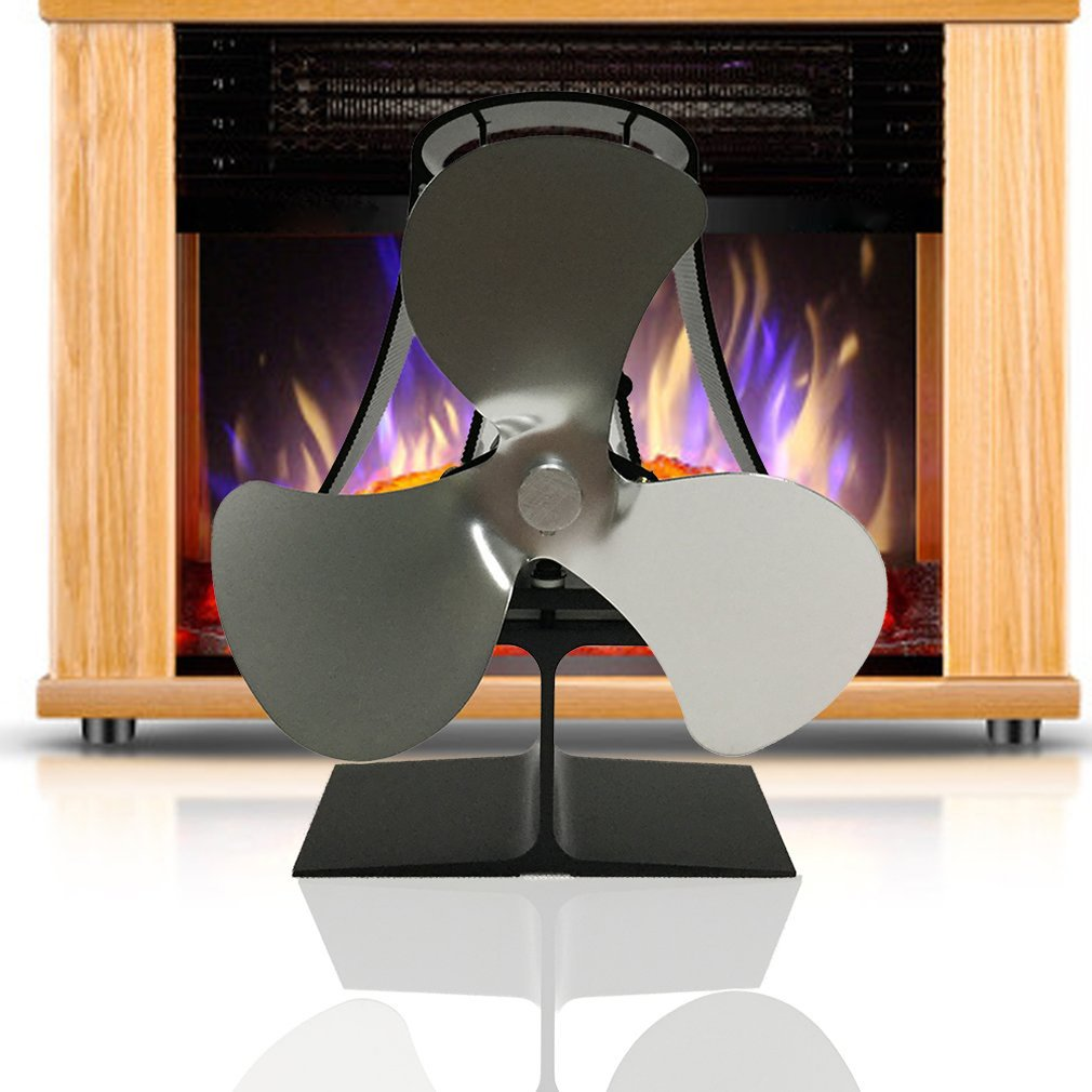 Heat Powered Wood Stove Eco Fan Temperature Gauge Ultra Quiet Fireplace Wood Burning Fan Heat Distribution