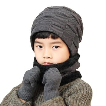 Winter Child Hat Scarf Gloves 3 Peice Set Kids Outdoor Warm Knitted Plush Cap Scarves And Touchscreen Gloves Boys Accessories