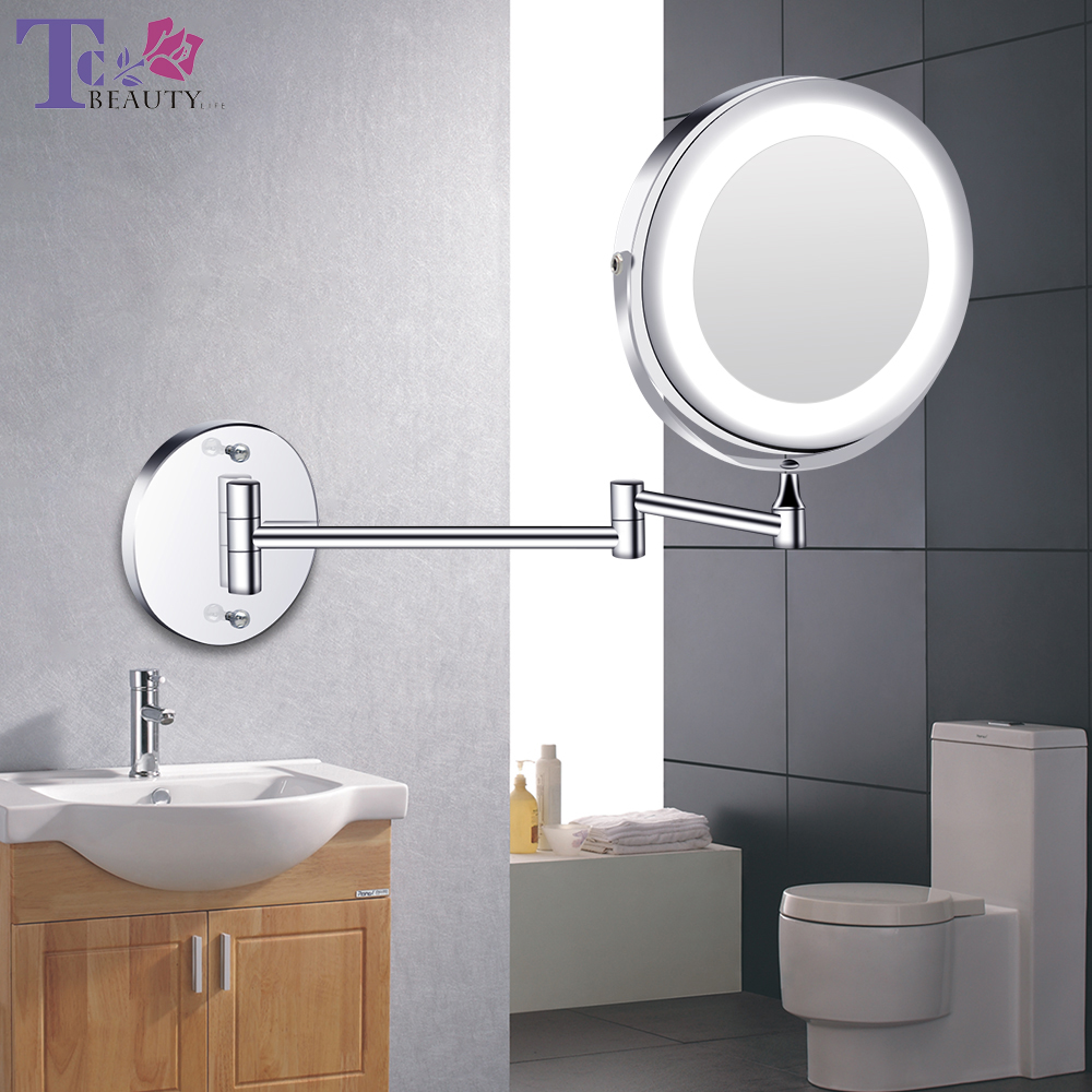 Led Makeup Mirror With Light Folding Wall Mount Vanity Mirror 1x 10x Double Sided Touch Bright
